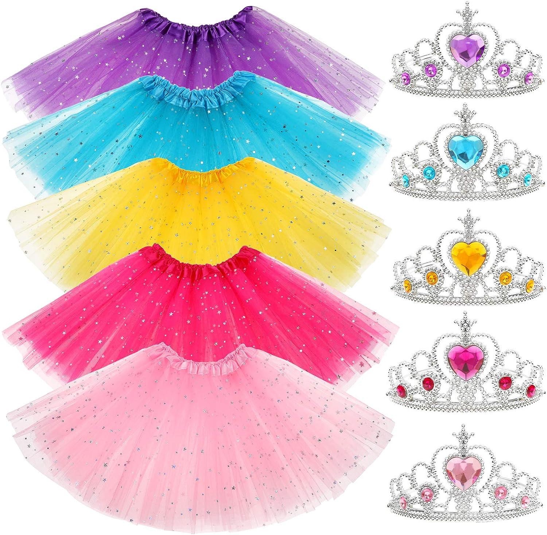 Yocharm 10 PCs Princess Tutu Crown Dress up Accessories Tiara Ballet Tutus Gifts Birthday Princess Party Favors for Girls