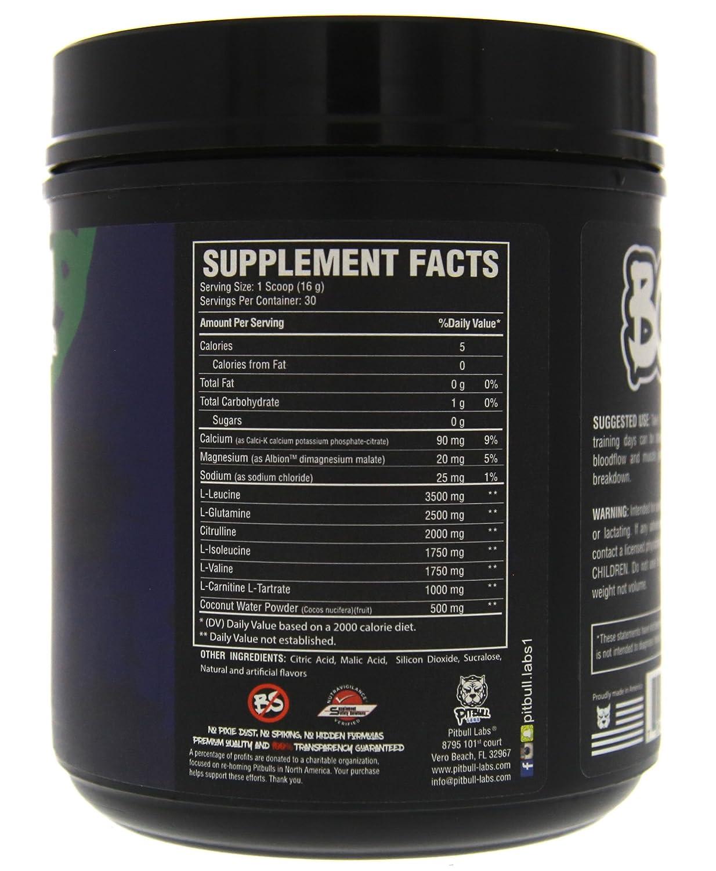 PITBULL LABS BCAA's 7g Natural BCAA's, ZERO Sugar, 1g L-Carnitine, 2g  Citrulline, 25g L-Glutamine,