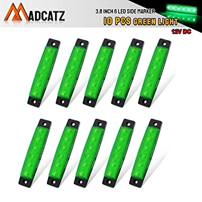 Meerkatt (Pack of 10) 3.8 Inch Green 6 LED Side Clearance Marker Light Indicators Lamp License Decoration Fender Rear Tail Trailer Truck Cap Camper Buses Pickup Vans ATV Lorries Jeep 12v DC Model TK12: Automotive