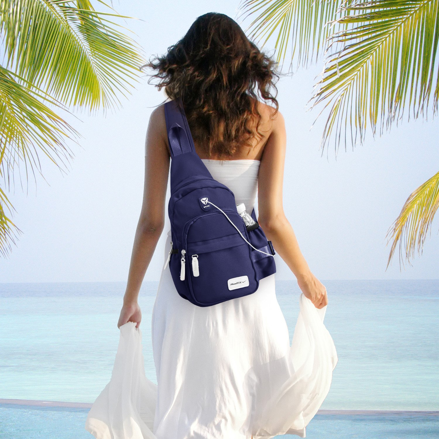 GPCT Nylon Crossbody Shoulder Chest Sling Bag Daily Travel Backpack (Blue) by GPCT (Image #7)