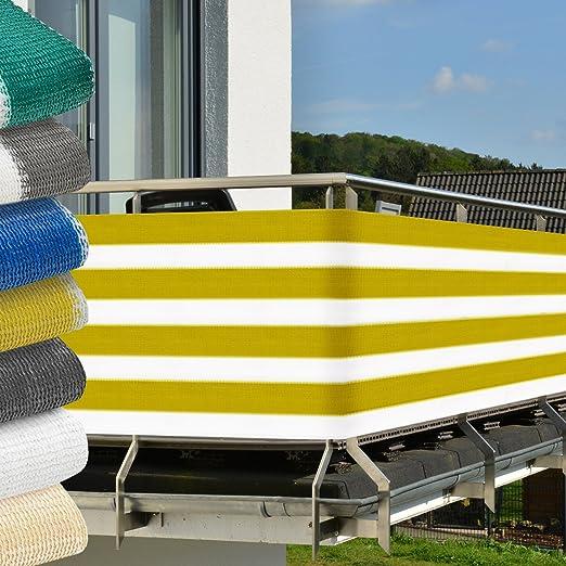 6 opinioni per Frangivista per balconi 500x90 cm- giallo-bianco- protegge da raggi UV-
