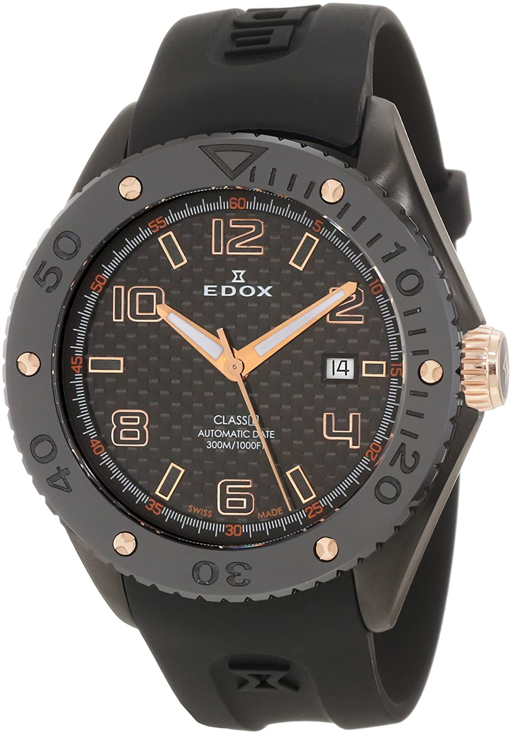 Edox Men s 80078 357RN NIR2 Class-1 Automatic Rotating Bezel Watch