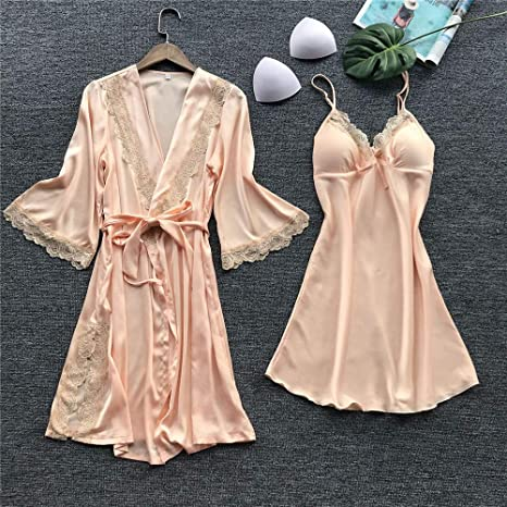 Women Silk Robe Dress Lace Babydoll Nightdress Sleepwear Kimono Set at Amazon Womens Clothing store: