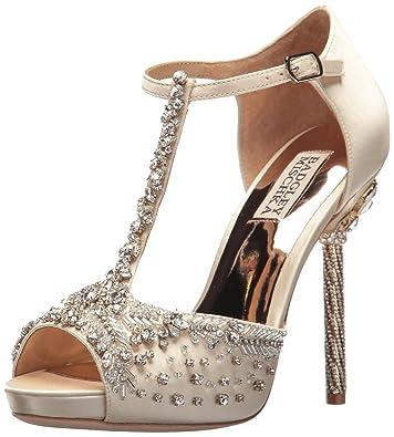 Badgley Mischka Women's Stacey Heeled Sandal, Ivory, ...