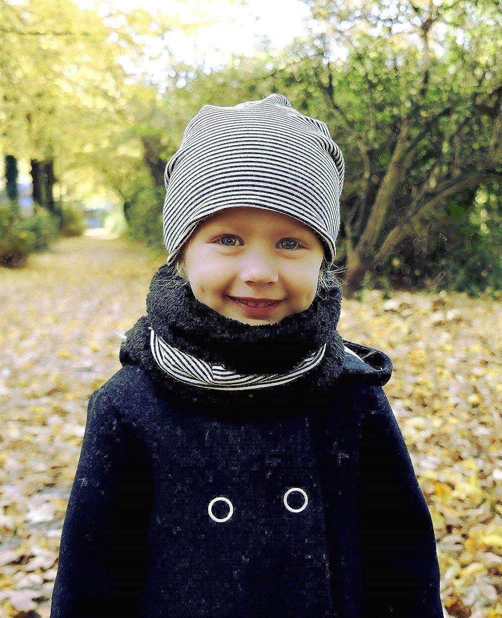Echarpe tube et bonnet pour gar/çon et fille Hilltop Ensemble dhiver pour enfant Echarpe en polaire peluche et bonnet pour enfant assorti