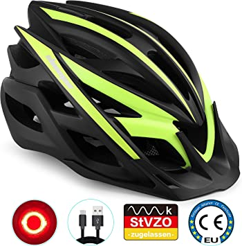 Shinmax Casco de Bicicleta, Casco de MTB con Visera Desmontable ...