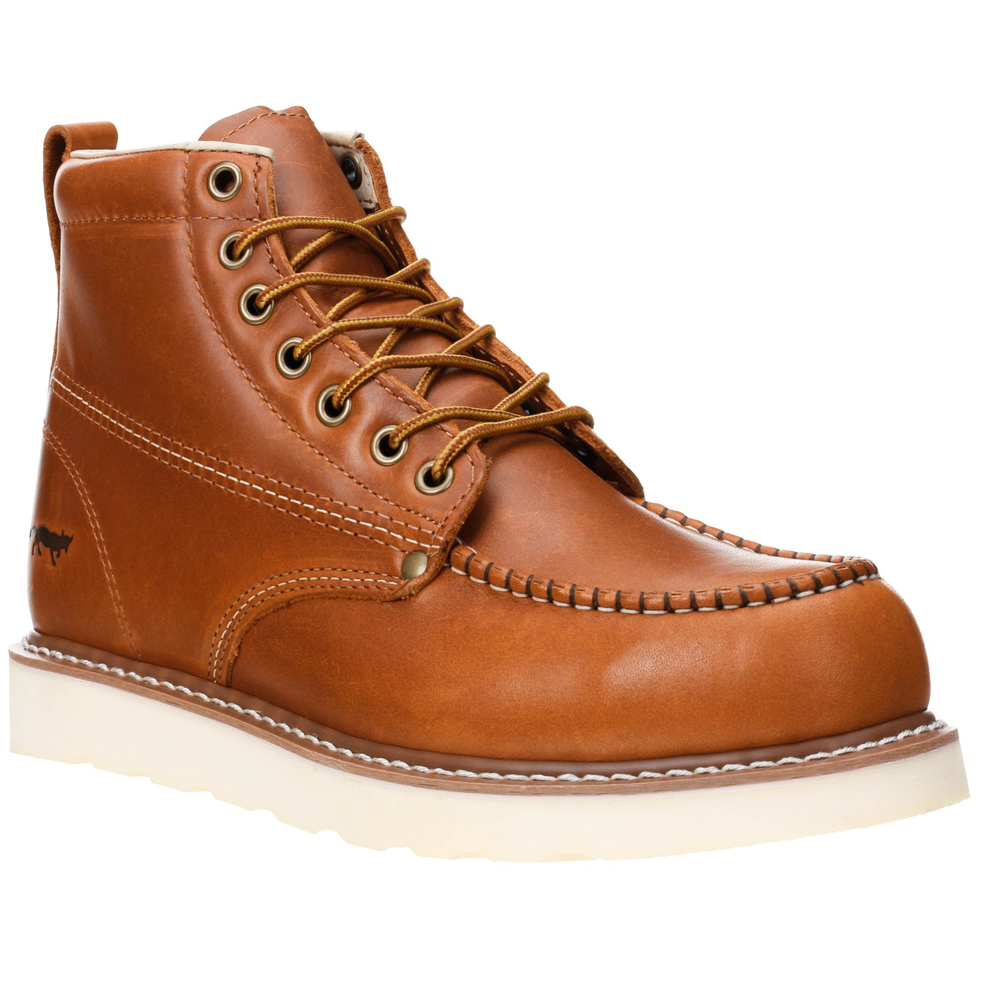 Golden Fox Work Boots 6'' Men's Moc Toe Wedge Comfortable Boot for Construction Brun Size 12 D(M) US