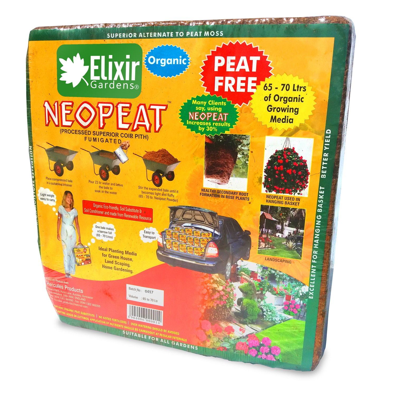 Elixir Gardens (70lt Coir Compost Organic Blocks Makes x 3)