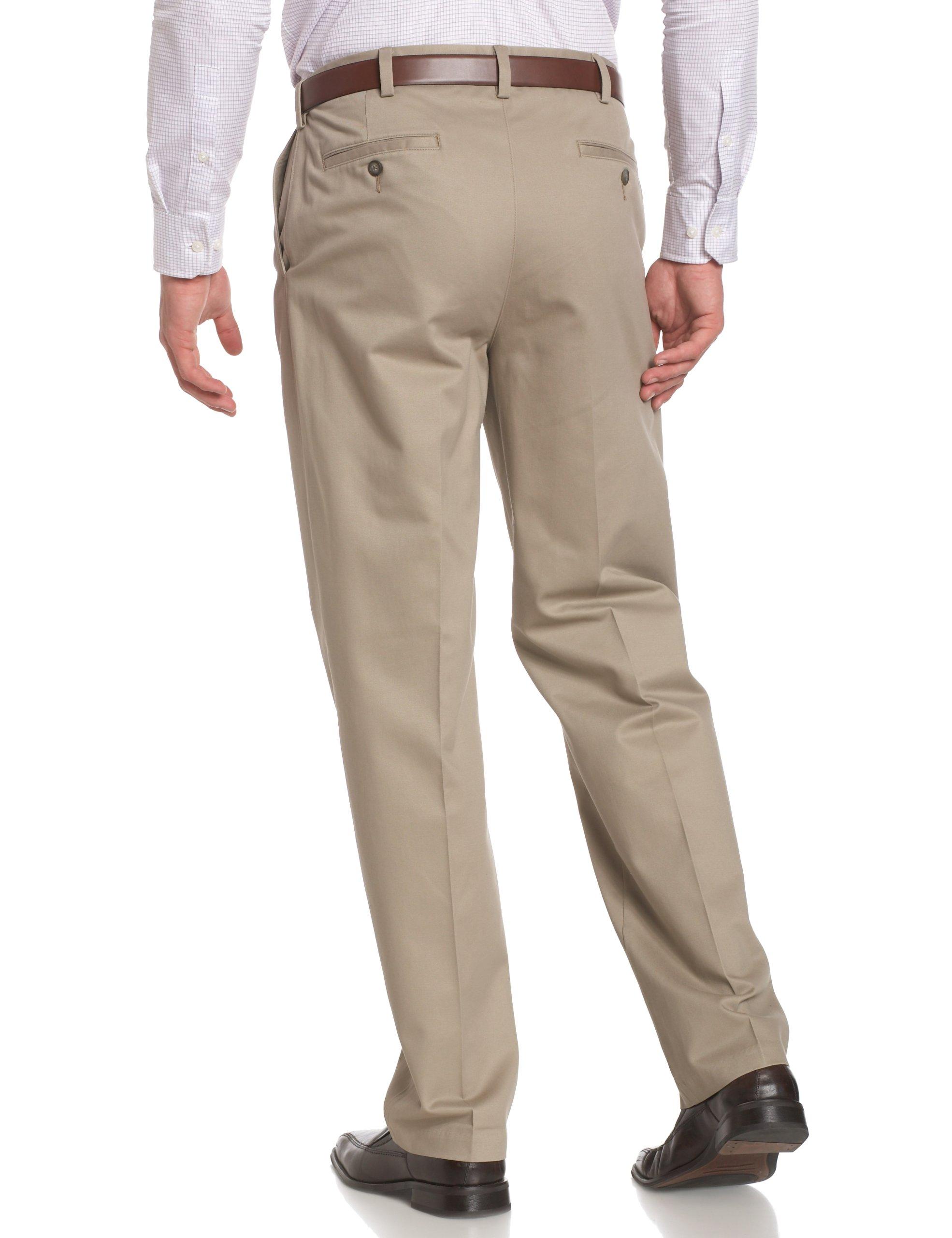 Savane Men's Pleated Wrinkle Free Twill,Khaki,42W 32L by Savane (Image #2)