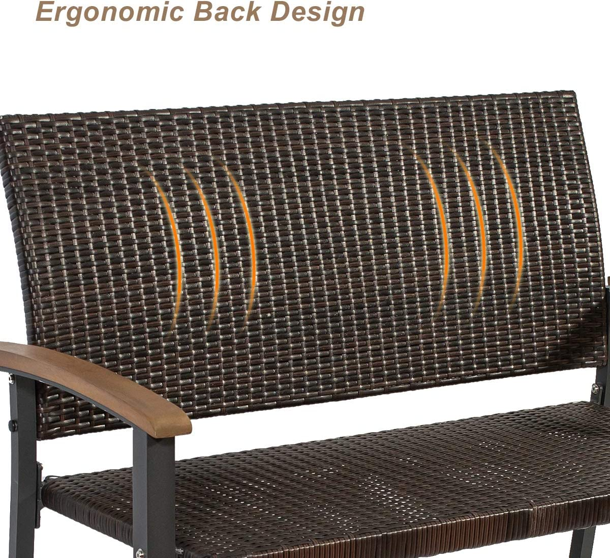 Front Porch,Backyard Park Outdoor Garden Bench Brown Metal Frame Wicker Rattan Furniture Bench for Patio