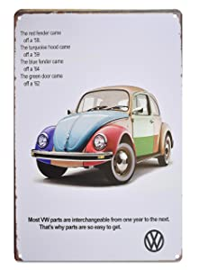 H&K Volkswagon VW Bug Retro Car Metal Tin Sign Posters Wall Decor 12X8-Inch (VWBug)