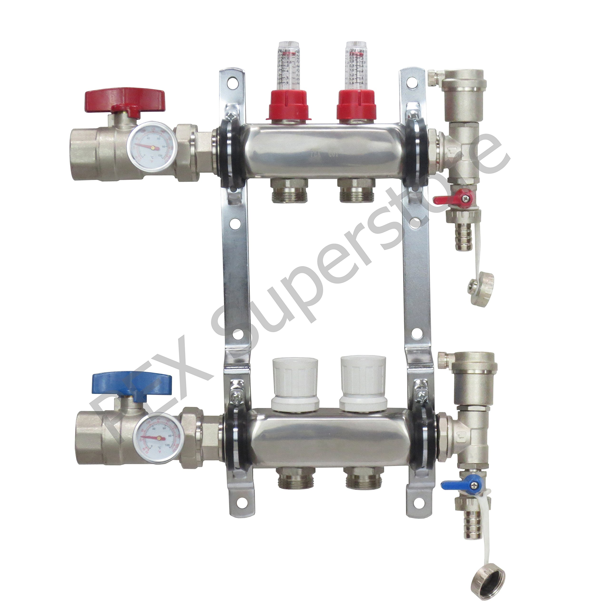 2 Loop Stainless Steel PEX Manifold With 1/2'' Connectors - Genuine PEX GUY