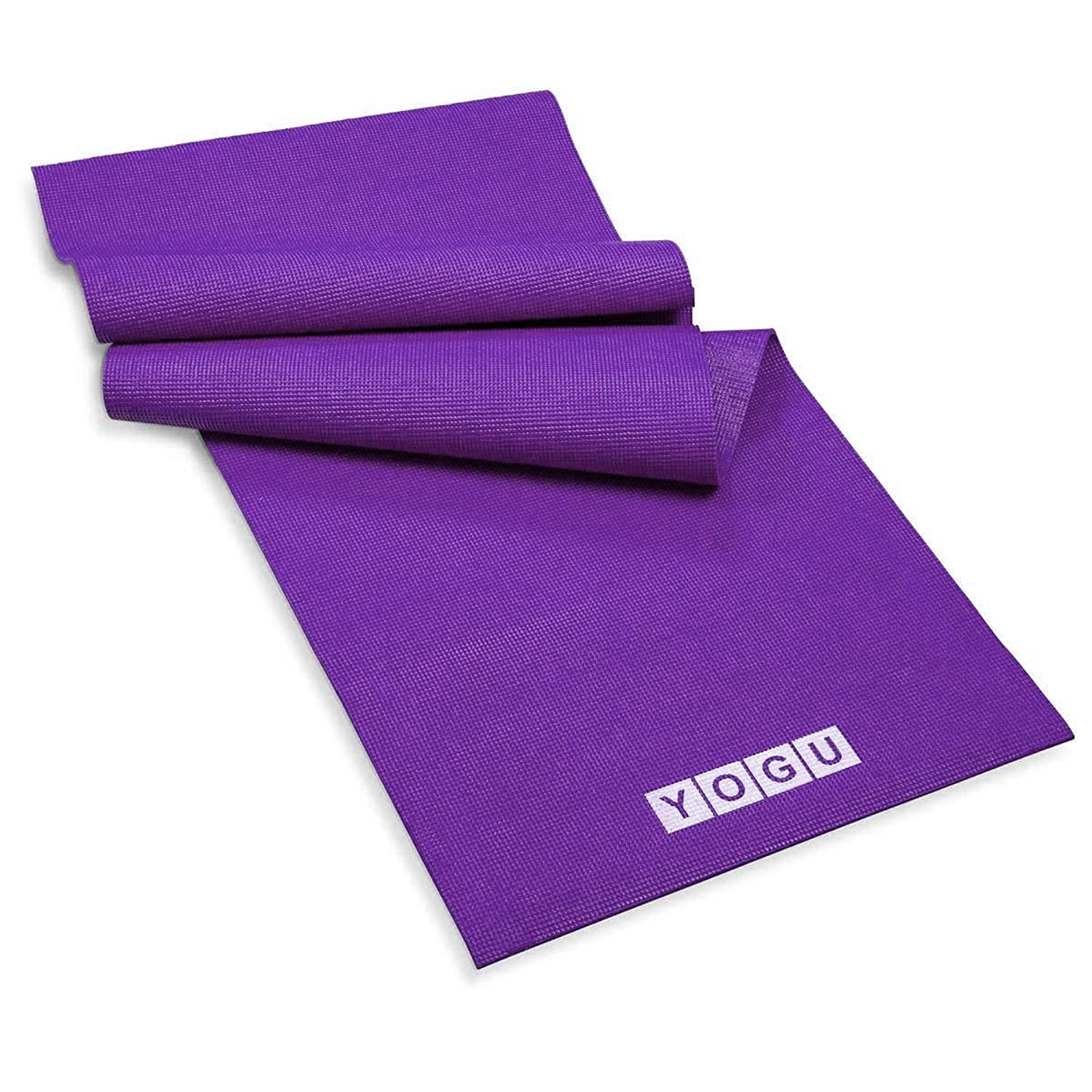 YOGU Exercise Yoga Mat 1 4 Inch Thick Multi-Purpose Lightweight Pilates Fitness Mats Durable Washable Non-Slip Surfaces Sweat-Proof Gym Workout Mat with Carrier Strap – 6 FT x 2 FT