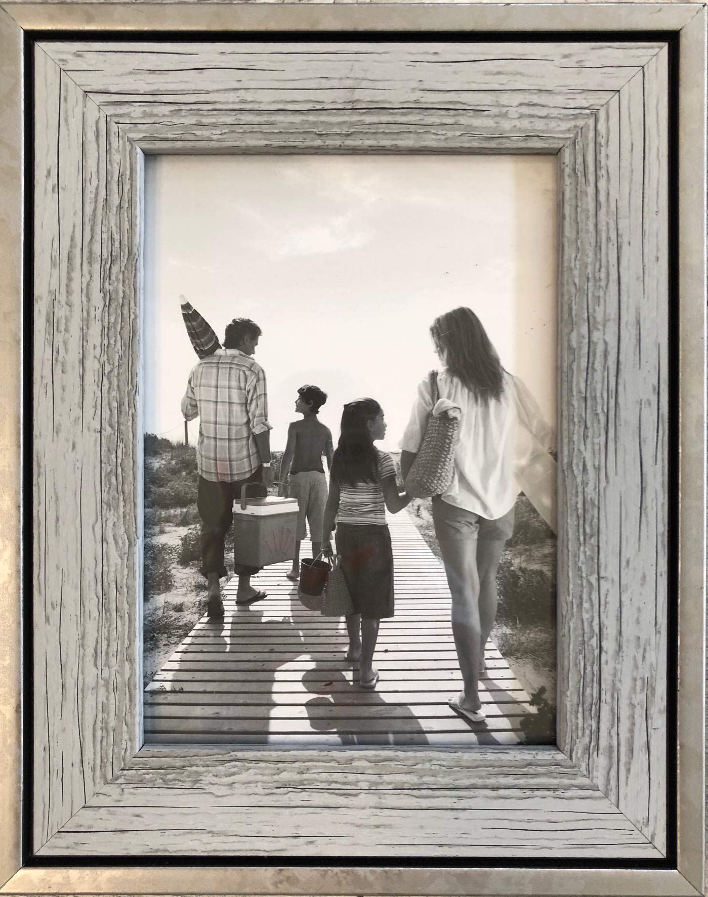 Tasse Verre 5x7 Rustic Frames (3-Pack) - Distressed Farmhouse Industrial Frame - Ready to Hang or Stand - Built-in Easel - Silver Galvanized Metal Look with Wood Insert by Tasse Verre (Image #7)