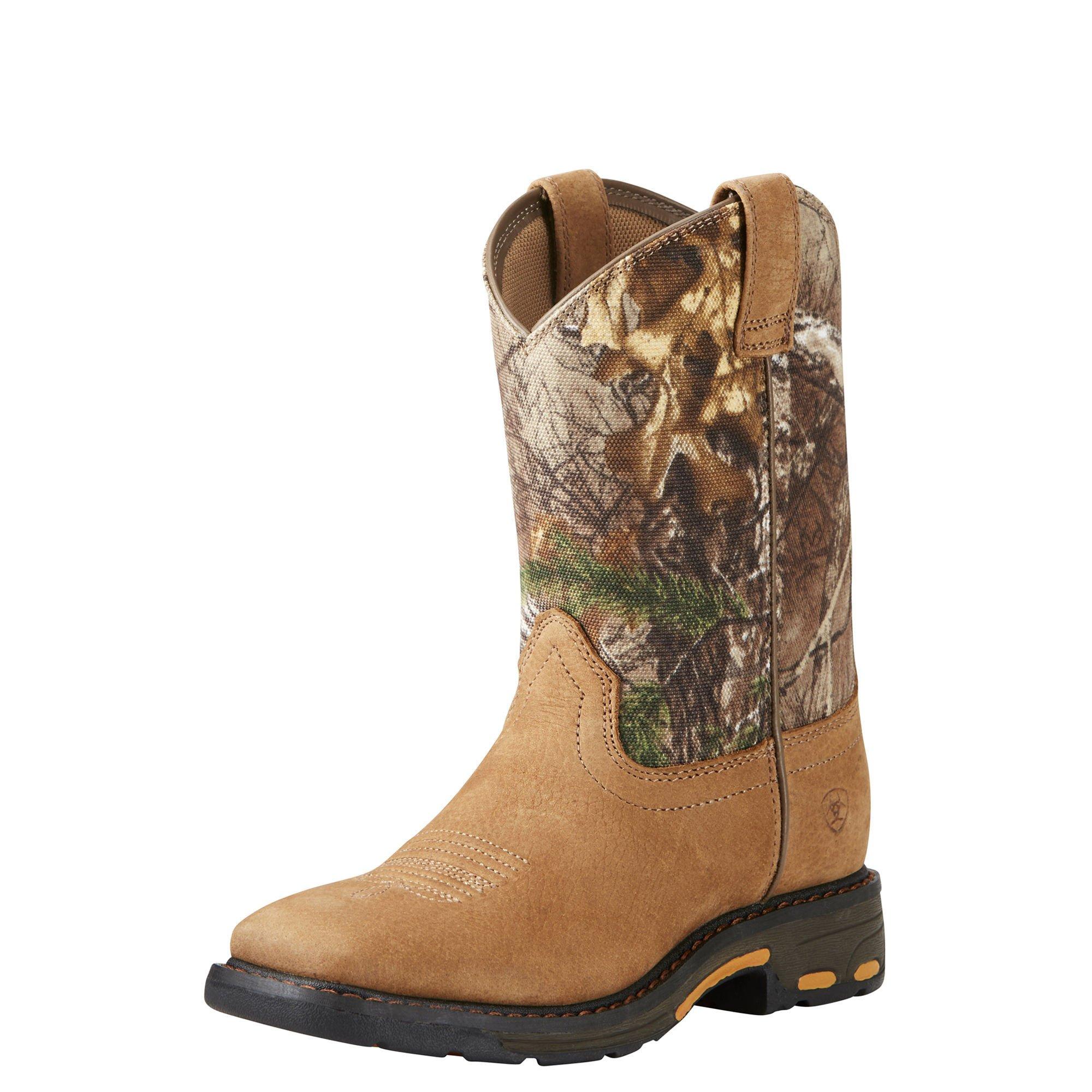 Kids' Workhog Wide Square Toe Western Cowboy Boot, Aged Bark, 3.5 M US Big Kid