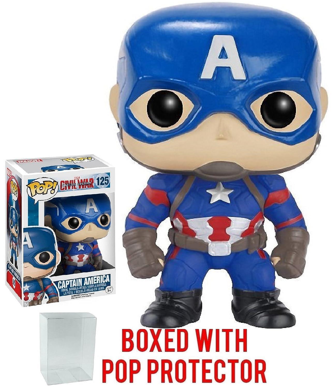 Bundled with Pop Box Protector CASE Captain America Vinyl Figure Marvel: Captain America 3: Civil War Funko Pop