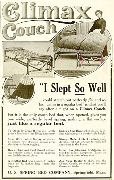 1920 Ad US Spring Bed Climax Couch Furniture Household Sofa Home Decor  Mattress   Original Print