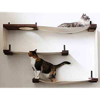 CatastrophiCreations Fabric Cat Maze   Multiple Level Hammock Lounger    Handcrafted Wall Mounted Cat Tree Shelves