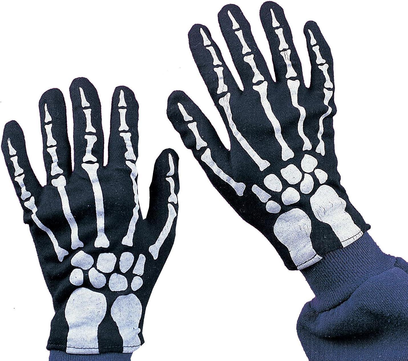 Pair of Child/'s Skeleton Halloween Gloves Black Gloves with Bone Print in White