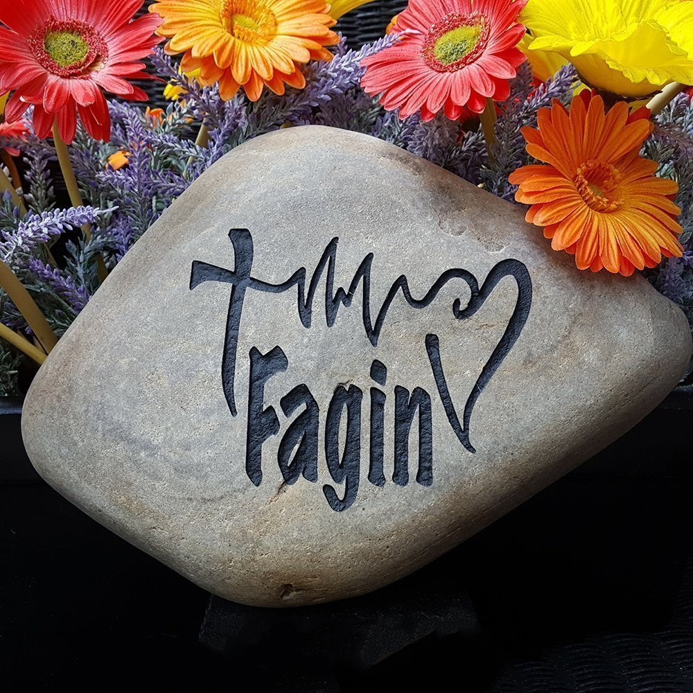 God Rocks Faith Life Family Engraved Garden Stone