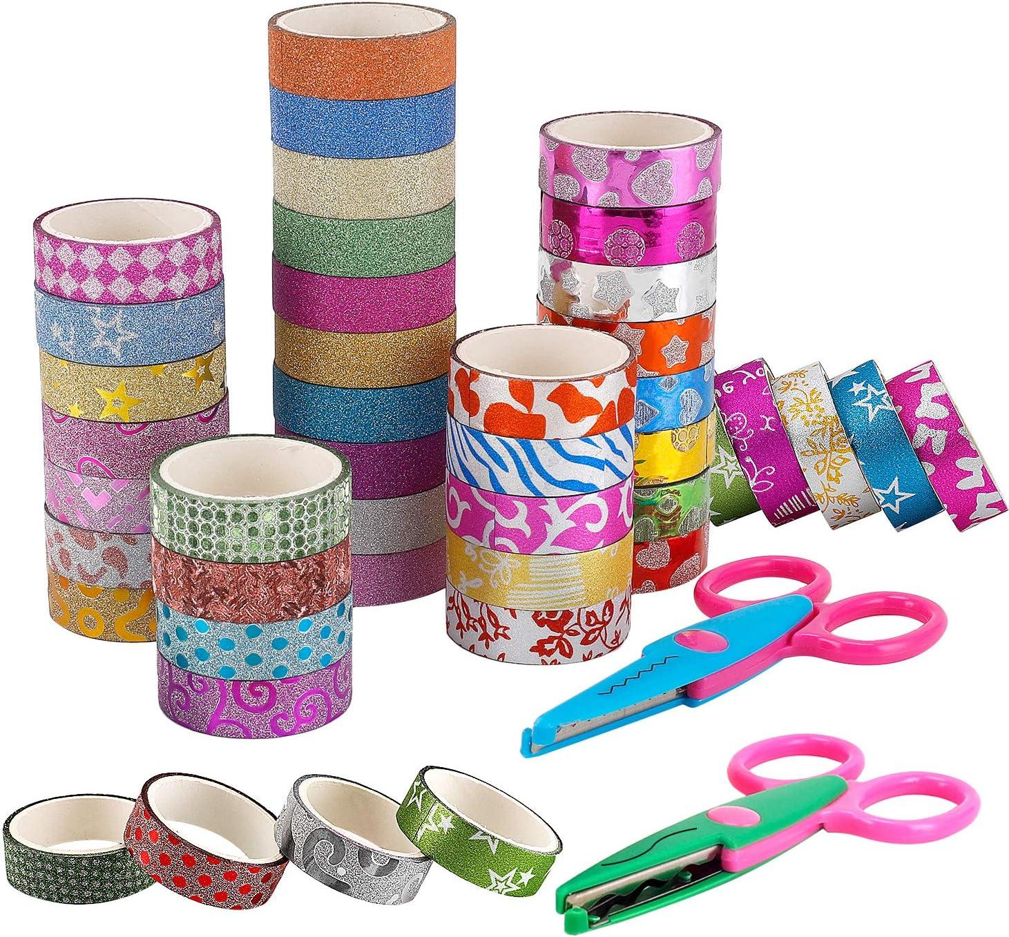 New Glitter Tape Set of 50 Rolls 2 Craft Scissors- Decorative Washi Tape Perfect for DIY Crafts Book Designs Scrapbook