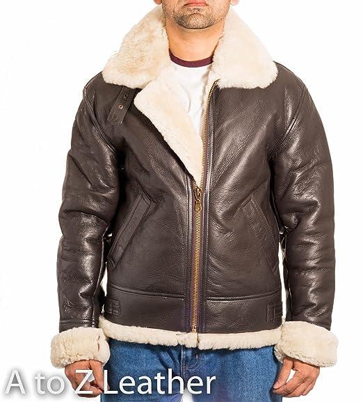 1ab24c7b5bb A to Z Leather Mens Brown Aviator B3 Sheepskin Pilot WW2 Flying Jacket with  Cream Fur  Amazon.co.uk  Clothing