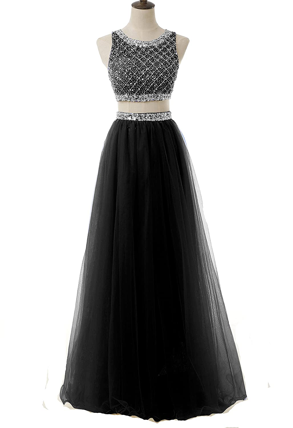 8c740f7b9cb Amazon.com  BessDress Two Piece Sequined Bodice Prom Dresses 2017 Long  Beaded Ball Gowns BD066  Clothing
