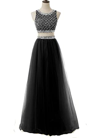 Amazon.com: BessDress Two Piece Sequined Bodice Prom Dresses 2017 ...
