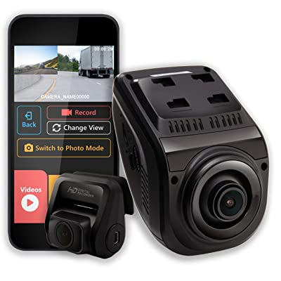 """Rexing V1P 3rd Generation Dual 1080p Full HD Front and Rear 170 Degree Wide Angle Wi-Fi Car Dash Cam with Supercapacitor, 2.4"""" LCD Screen, G-Sensor, Loop Recording, Mobile App: Car Electronics"""
