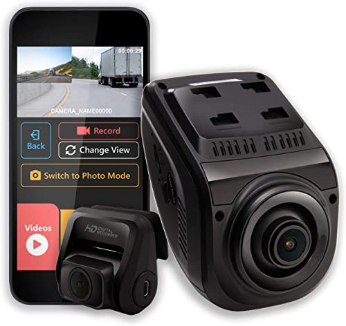 Rexing V1P 3rd Generation Dual 1080p Full HD Front and Rear 170 Degree Wide Angle Wi-Fi Car Dash Cam with Supercapacitor, 2.4 LCD Screen, G-Sensor, Loop Recording, Mobile App
