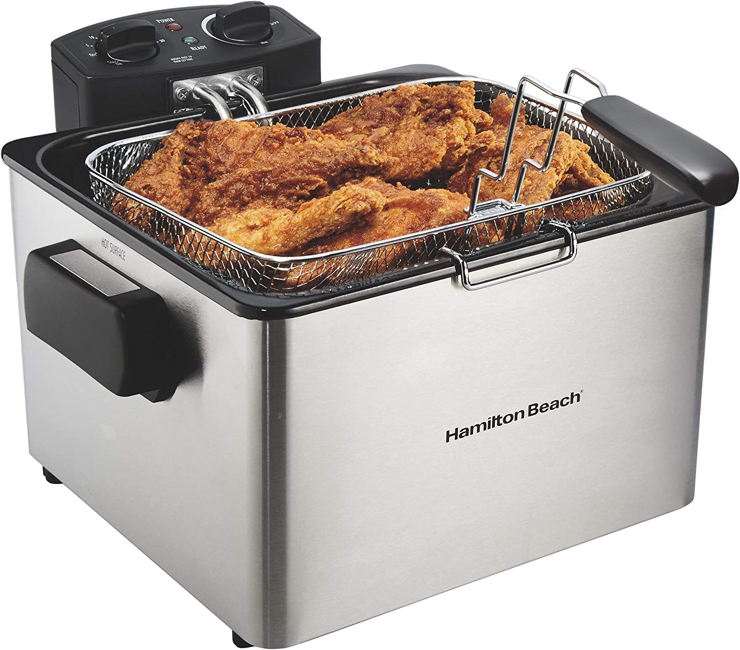 Hamilton Beach (35035) Deep Fryer, With Basket, 4.5 Liter Oil Capacity, Electric, Professional Grade (Renewed)