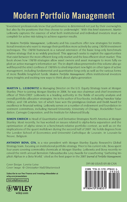 Modern Portfolio Management: Active Long/Short 130/30 Equity Strategies