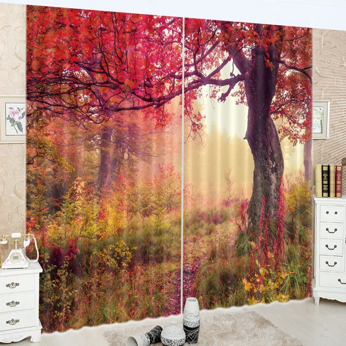 LB Teen Kids Decor Collection,2 Panels Room Darkening Blackout Curtains,Wilderness of Autumn Fall Scenery 3D Window Treatment Living Room Bedroom Window Drapes,28 by 65 inch Length