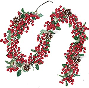 TURNMEON 6 Foot Christmas Garland Decor with Pine Cones Red Berries Bristle Pine Garland Xmas Decoration Indoor Outdoor Home Mantle Fireplace Holiday Decor(Ivy Berry Garland)