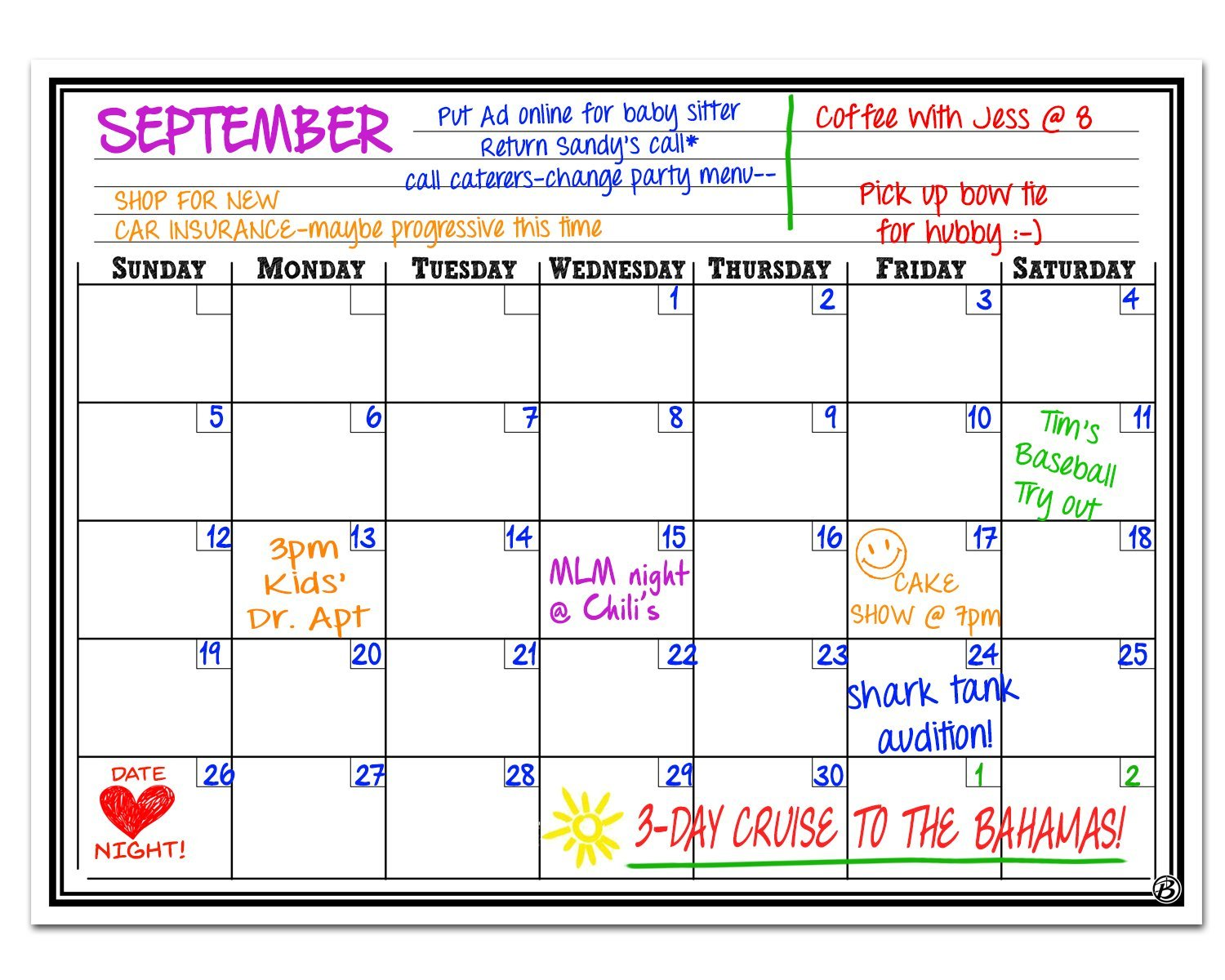 Smart Planner Magnetic Dry Erase Board Monthly Calendar Planner, 12 x 16-Inch Signs Authority
