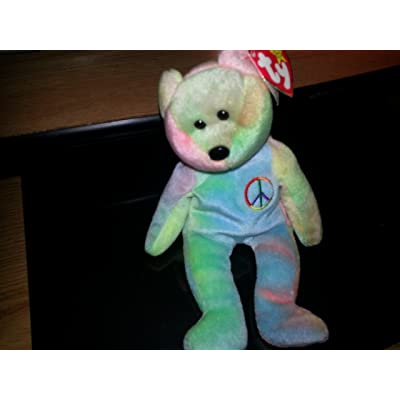 Peace the Neon Ty-Dyed Teddy Bear - MWMT Ty Beanie Babies: Toys & Games