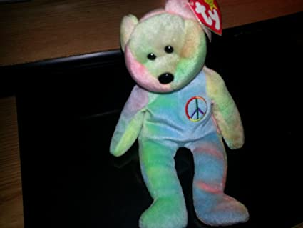 8fcae175f48 Image Unavailable. Image not available for. Color  Peace the Neon Ty-Dyed Teddy  Bear - MWMT Ty Beanie Babies