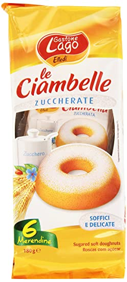 Gastone Lago , Le Ciambelle, Zuccherate, Pacco Da 6X30 G, Totale 180 G  Amazon.it Alimentari e cura della casa