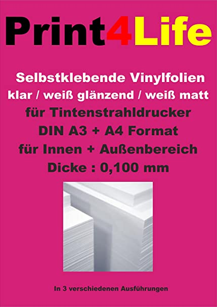 Print4Life OUTDOOR - Papel adhesivo para impresoras de inyección ...