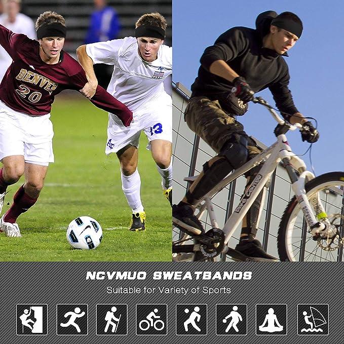 HHOOMY Bandas de Deporte para Hombre para Correr Yoga Cross Negro para el Transporte de la Humedad Casco de Bicicleta Banda para el Sudor y Cinta para la Frente