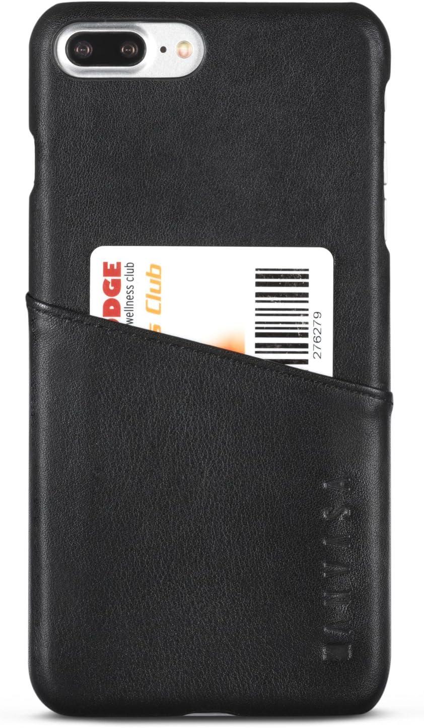 iPhone 8 Plus Leather Case/iPhone 7 Plus Leather Case Black - KANVASA Cards Premium Genuine Leather Wallet Back Cover for The Original iPhone 8 Plus & 7 Plus (5.5