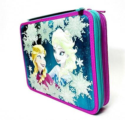 Estuche 2 bisagras Maxi Frozen Elsa Anna Azul Fucsia Escuela accessoriato: Amazon.es: Oficina y papelería