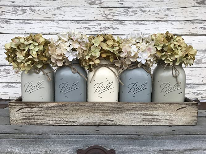 Mason Canning Jar Kitchen Farmhouse Table Centerpiece With 5 Hand Painted  Ball QUART Jars In Distressed