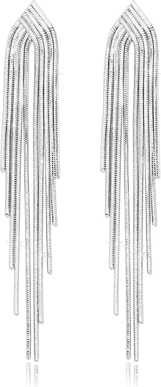 KristLand - S925 Plata Esterlina Cadena Mujer Pendientes Colgados de Borlas Largas Drop Stud para Fiestas Bodas