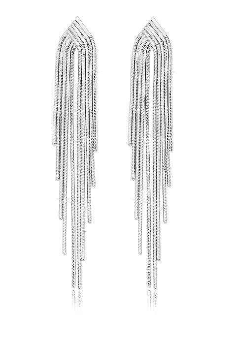 Pendientes colgados de Borlas largas de plata esterlina ideal para Fiestas y Bodas.