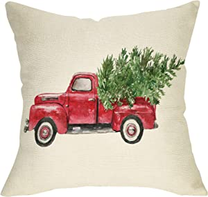 """Softxpp Christmas Farmhouse Decorative Throw Pillow Cover Vintage Red Truck Winter Holiday Decoration Merry Xmas Tree Farm Sign Home Decor Cushion Case for Sofa Couch 18"""" x 18"""" Inch Cotton Linen"""