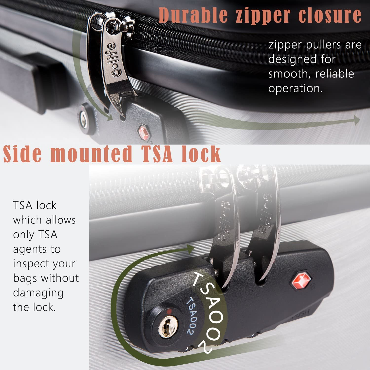 28 Sliver, L Coolife Luggage Expandable Suitcase PC+ABS with TSA Lock Spinner 20in24in28in