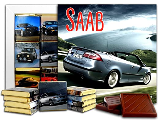 Amazon.com : DA CHOCOLATE Candy Souvenir SAAB Chocolate Gift Set 5x5in 1 box (Cars) : Grocery & Gourmet Food