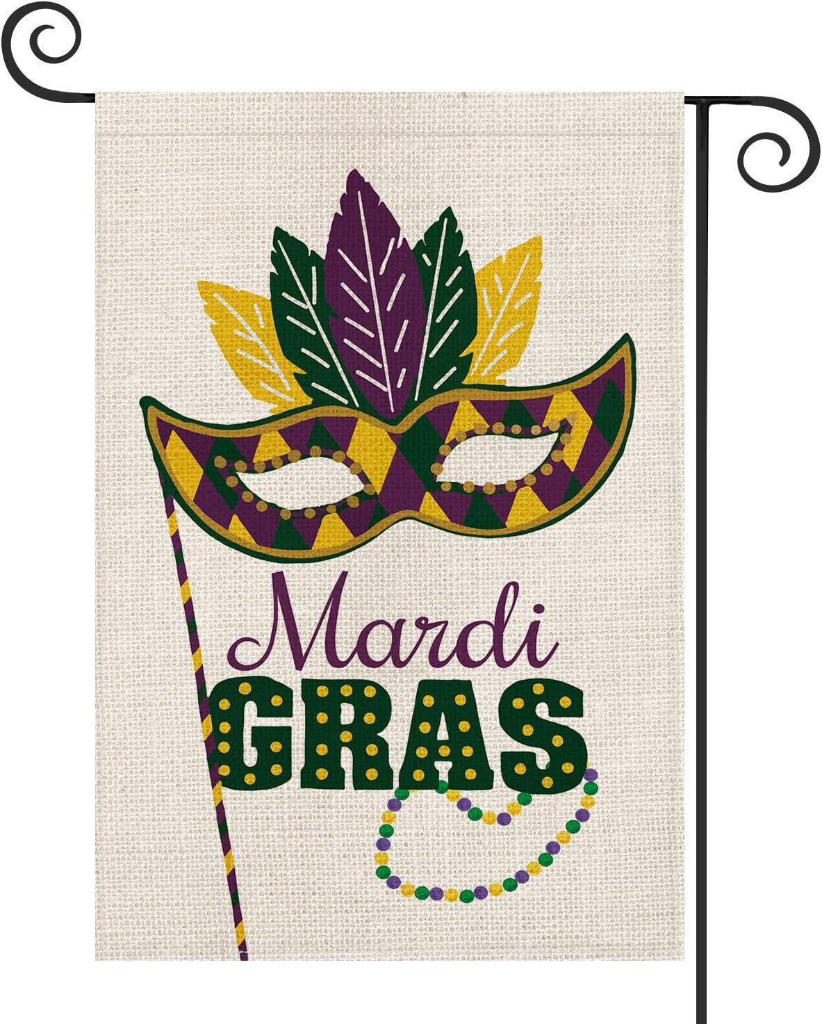 AVOIN Mardi Gras Masquerade Mask Garden Flag Vertical Double Sized, Holiday Party Mardi Gras Bead Yard Outdoor Decoration 12.5 x 18 Inch