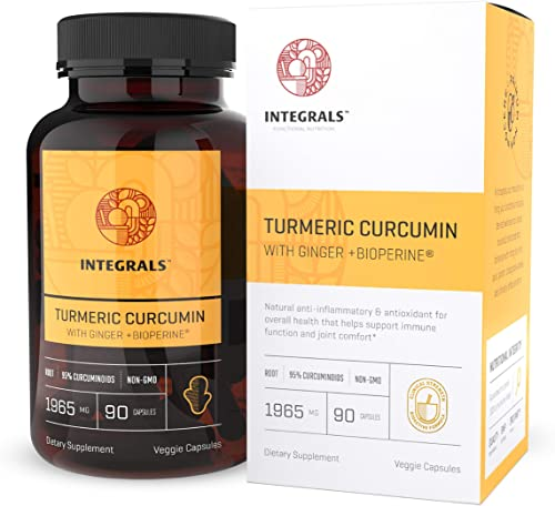 Integrals Organic Turmeric Curcumin Pills with Ginger Bioperine Potent 550mg of Turmeric Root in Every Vegan Capsule. Natural Anti-Inflammatory Antioxidant Antifungal Relieves Pain Boosts Immunity